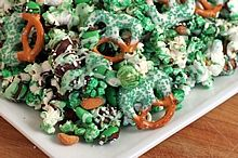 Green Popcorn & Pretzel Party Mix - A festive, sweet & salty recipe