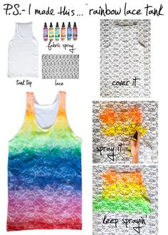 DIY Lace Tank w/ fabric spray paint Cute Crafts, Crafts To Do, Diy Crafts, Paper Crafts, Teen Crafts, Bijou Box, What's My Favorite Color, Just In Case, Just For You