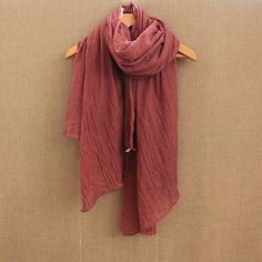 Cozytoo Plain Brick Red Accessories Cotton Casual All Season Accessories – cozytoo Red Accessories, Accessories Online, Clothing Accessories, Cotton Scarf, Cotton Style, Green And Grey, Scarves, Shawls, Boho