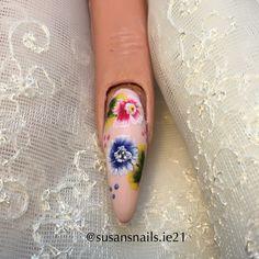 Nail art - one stroke blue & pink flowers
