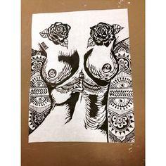 Double Standard. Print. Printmaking. Woodblock. Black version.