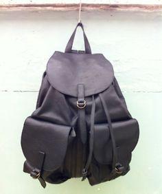 Black/red calfskin Katcha backpack