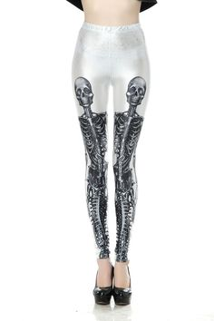 SEXY LADY GALAXY LEGGINGS PRINTED COSMIC SPACE PANTS TIE DYE TIGHTS NEW SUMMER FASHION CASUAL WHITE BOTTOM HUMAN SKELETON PATTERN DIGITAL PRINTING SEXY LEGGINGS FOR WOMEN
