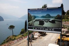Switzerland. Canton Ticino. Lugano. Castagnola area. Real estate billboard. Construction of