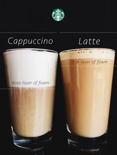 latte and a cappuccino are made using the same two simple ingredients: espresso and milk. The difference is in the foam—a latte is topped with a thin layer of foam and a cappuccino is topped with a deep layer of foam, filling almost half the cup. Espresso Drinks, Espresso Coffee, Iced Coffee, Coffee Drinks, Coffee Barista, Coffee Coffee, Coffee Type, Great Coffee, Coffee Art