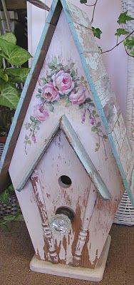 rose bird house.  i have a love affair with bird houses