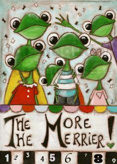 """Original Whimsical Frog Painting on Wood  """"Merrier!"""" ©dianeduda/dudadaze"""