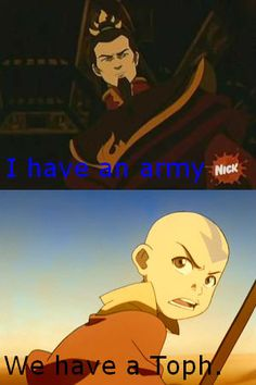 We have a Toph. So accurate, I love it  But don't forget Katara, Zuko, or, even though she's not a gaang member, Ty Lee!