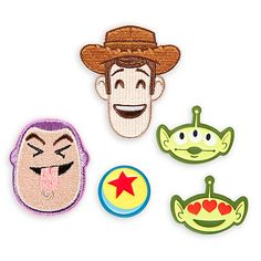 Take your style to infinity and beyond with our Disney Emoji Toy Story Adhesive Patches! The pack of 5 contains 2 large embroidered Buzz and Woody patches, along with 3 smaller printed patches. Woody, Toy Story Nursery, Pop Book, Disney Patches, Tattoo Flash Sheet, Emoji Stickers, Embroidery Patches, Disney Pins, Badge