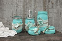 Hand painted in aqua wrapped with white burlap tied with jute and roses finished with a protective coating. Metal soap dispenser toothbrush holder make up brush Mason Jar Projects, Mason Jar Crafts, Bottle Crafts, Diy Projects, Sewing Projects, Aqua Bathroom, Mason Jar Bathroom, Brown Bathroom, Bathroom Towels