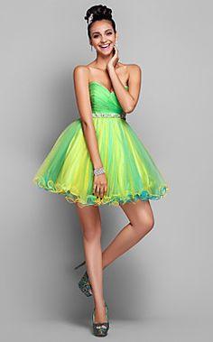 A-line/Princess Sweetheart Short/Mini Tulle Cocktail Dress – USD $ 129.99