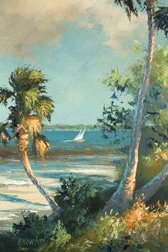 ~Harold Newton- Florida Highwayman. Something so nice about these vintage old oil paintings of Florida. Beautiful. Tropical Art, Coastal Art, Vintage Paintings, Old Paintings, Art Themes, Vintage Florida, Old Florida, Art Tutorials, Landscape Paintings