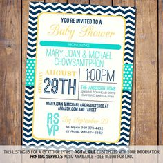 Hey, I found this really awesome Etsy listing at https://www.etsy.com/listing/157908614/chevron-baby-shower-invitation-with