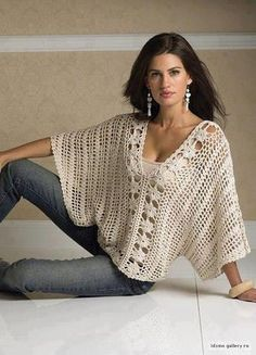 Would love to make this.  Let me know if anyone finds/makes a pattern!  Loose batwing crochet top.