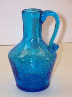 intage Pilgrim Crackle Glass Jug Vase Peacock Blue by GarageSaleGlass, $12.99