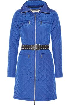 Michael Kors Amalfi Blue Quilted Belted Long Jacket Coat Large. quilted coat. hits a mid thigh. studded belt. hideaway hood. exposed front zipper closure.