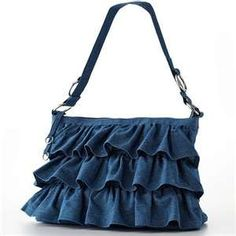 Denim bag - this very nice bag, for it to mine, is missing something..., and I just can't put my finger on it......., I'm hoping I do, because I really like this bag, and want to make it to suit me, and use it and love it.... we'll see....... (besides, it is a great practice piece for ruffles for Lamb)
