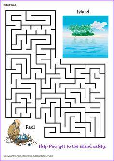 Maze, Help Paul Find the Island - Kids Korner – BibleWise