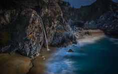 It was shot waaaay after the sun went down in Big Sur, California. This is a crazy waterfall that pours off onto the beach. You can't see it from the road, and it requires a short walk. I found it thanks to Stuck On Earth, although I am sure other locals have known about this semi-secret place forever!  - Big Sur, California - Photo from #treyratcliff Trey Ratcliff at http://www.StuckInCustoms.com