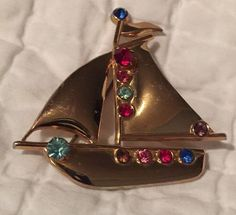 Vintage 1940's Coro Pegasus Sailboat Gold Tone w Colored Rhinestones Mint Cond | eBay