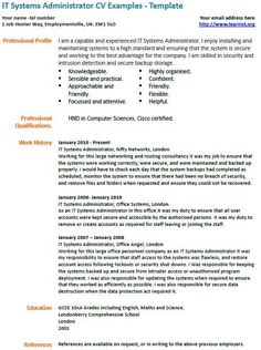 it systems administrator cv example - System Administrator Cover Letter Examples