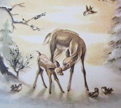 Vintage Christmas  Mother Doe Baby Fawn  in Woods with Birds