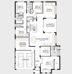 10 One-Story House Designs - Modern Facade Models and Plans Ideas - 1 Story House, One Story Homes, Modern Residential Architecture, Architecture Plan, Apartment Floor Plans, House Floor Plans, Autocad, Modern House Facades, Facade House