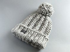 4a6eb7efe1ed4 Mans Bobble Hat. Available in 9 Colours. HoBo Handmade Winter Hat Thick  chunky hand knit beanie. Large pom pom Grey tweed wool blend 4 Sizes