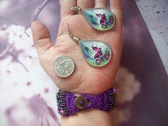 In The Groove Purple Multi Strand Seed Bead Bracelet Butterfly Thread Earrings $12.80