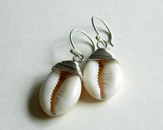 cowrie shell earrings silver wire wrapped