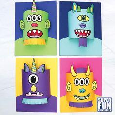 Halloween Activities For Kids, Halloween Kids, Paper Crafts, Printables, School Projects, Aliens, Robots, Monsters, Spider