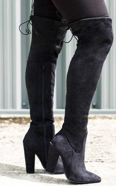 a3b453e9fa6 Osca Lace Up Thigh High Boots Black Suede Style By SpyLoveBuy