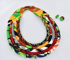 African Bib Necklace - Ethnic Braided Necklace - African Colors Necklace - African Flag Necklace - r Diy African Jewelry, African Earrings, African Beads, Red Jewelry, Bohemian Jewelry, Boho, Ethnic Jewelry, Braided Necklace, Tribal Necklace