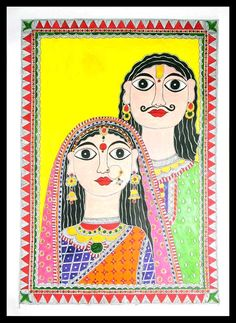 Madhubani painting - Indian Couple II   NOVICA Dressed in silken finery, a man and woman pose for their wedding portrait. The bride wears an ornate nose ring and a flowing veil; the groom wears earrings and a manly moustache. Vidushini works in the traditional Madhubani style for this lovely memento, painted on recycled paper