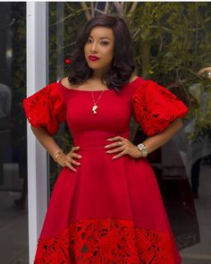 Red dress with bottom and sleeves in lace pretty for evening from Diyanu - Ankara Dresses, Shirts & Latest African Fashion Dresses, African Print Dresses, African Print Fashion, African Dress, Latest Dress Design, African Lace Styles, African Style, African Traditional Dresses, African Attire