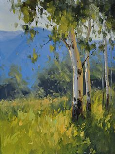 July Aspen Study by Stacey Peterson Oil ~ 14 x 11