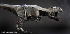Mechanical metal dinosaur by Andrew Chase using discarded car and plumbing parts.