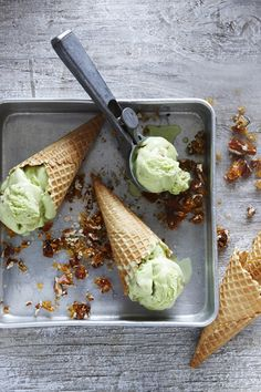 pandan ice cream w/ toffee pecans in waffle cones