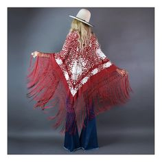 """Bohemian dreams are made of these...truly stunning Spanish shawl! To-die-for brick red color with tons of contrasting ivory embroidery throughout.  Amazing macramé fishnet fringes all along the edges will have you inspired to twirl for days. Shown folded in half on bias. Actual shawl open is a square measuring 41"""" x 44""""A truly versatile piece to treasure for lifetimes! Drape yourself in it or use as a bohemian home decor throw to be draped on furniture (I always have ..."""