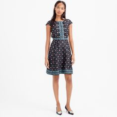 "A pretty fit-and-flare silk dress with cap sleeves and a kaleidoscopic print that we developed and engineered in-house for the most perfect (read: flattering) placement. <ul><li>A-line silhouette.</li><li>Falls above knee, 37 3/4"" from high point of shoulder (based off size 6).</li><li>Silk.</li><li>Back zip.</li><li>Lined.</li><li>Dry clean.</li><li>Import.</li></ul>"