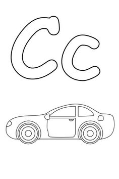 drawing a car and letter c coloring page - C Coloring Sheet