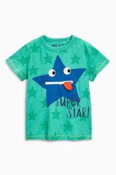 """Купить Зеленая футболка с надписью """"Superstar"""" (3 мес.-6 лет) Купить онлайн прямо сейчас на Next: Украина"""