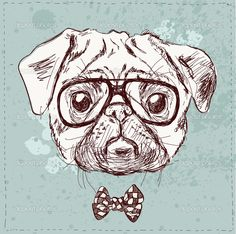 Vintage illustration of hipster pug dog with glasses and bow in vector on vintage background - stock vector Pug Illustration, Dog With Glasses, Hipster Dog, Basic Dog Training, Pug Art, Nerd, Wood Burning Art, Pug Puppies, Cute Wallpaper Backgrounds