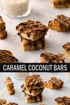 This simple recipe for Chewy Caramel Coconut Bars, similar to homemade samoas, are a shortbread cookie bar topped with easy caramel, shredded coconut and a drizzle of chocolate. Only 7 ingredients and highly addictive. Caramel Biscuits, Caramel Cookies, Coconut Recipes, Baking Recipes, Cookie Recipes, Köstliche Desserts, Dessert Recipes, Coconut Biscuits, Caramel Recipes