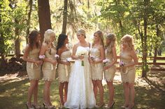 This was a Marine wedding with gold bridesmaids' dresses.  Very pretty! :)