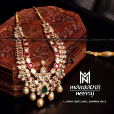 Handcrafted jewellery from Mangatrai Neeraj! For queries and purchase, Call us or Whats-app us on 97045 40000 Visit our store at Lumbini… Indian Wedding Jewelry, Bridal Jewelry, Indian Weddings, Jewelry Findings, Jewelry Sets, Trendy Jewelry, Simple Jewelry, Long Pearl Necklaces, Gold Jewellery Design