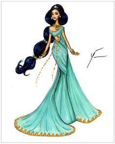 Disney Princesses 'Jasmine' by Yigit Ozcakmak- jasmines dress can be transformed with gold trim and embellishments Disney Princess Fashion, Disney Princess Drawings, Disney Princess Art, Disney Fan Art, Disney Drawings, Disney Style, Disney Princesses, Disney Fashion, Drawing Disney