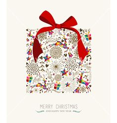 Vintage christmas gift greeting card vector by cienpies on VectorStock®