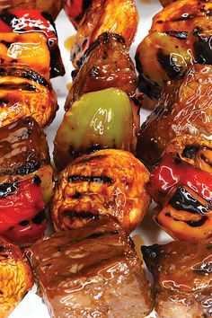 Fire up the grill and grab the skewers because this Beef, Pepper and Mushroom Shish Kebab is going to become the best to hit your BBQ. Kebab Recipes, Grilling Recipes, Beef Recipes, Cooking Recipes, Cookbook Recipes, Cooking Beef, Vegetable Kebabs, Kebabs On The Grill, Shish Kebab