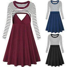 BNWT MARKS /& SPENCER MATERNITY /& BEYOND DRESS UK 10 38 NAVY WHITE STRIPES COTTON